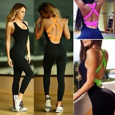 Women Yoga Playsuit Jumpsuit Fitness Running Sports Exercise Athletic Bodysuit