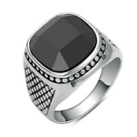 316L Stainless Steel Fashion Men's Black Agate Stone Finger Rings Big Size 12 13