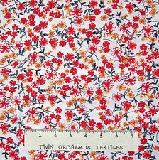 Calico Fabric - Red & Yellow Flower on White - Cotton YARD
