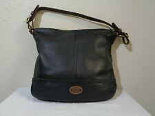 FOSSIL BLACK PEBBLED SOFT LEATHER BROWN LEATHER STRAP BUCKET BAG