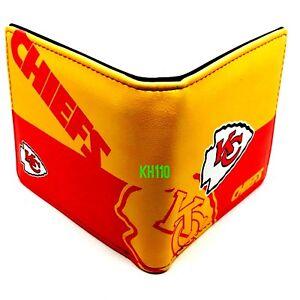NFL Kansas City Chiefs Men's Printed Logo Leather Bi-Fold Wallet