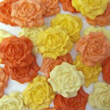 12 Orange Yellow Pale Mix Sugar Roses edible sugarpaste flowers cake decorations