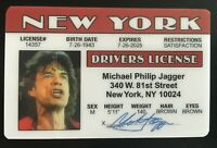 Mick Jagger Drivers License The Rolling Stones Novelty ID Card Rock New York NY