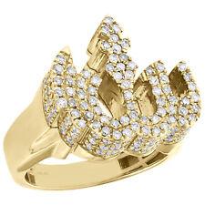 10K Yellow Gold Mens Diamond 3D Allah Pinky Ring Islamic Arabic Design 1.50 CT.