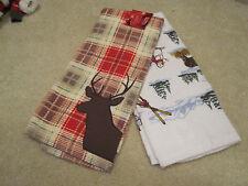 Christmas Gray /& White Skiing Snowman Cotton Kitchen Towels NWT