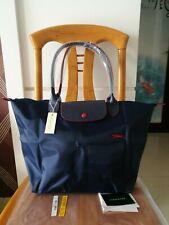 Auth Longchamp Le Pliage Navy Blue tote bag Horse Embroidery L