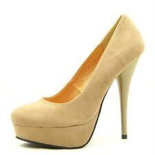 High Heel Platform Pumps, Women's Shoes, Taupe Velvet  7US/37.5EU