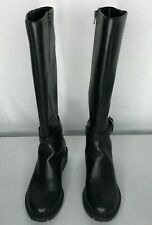 NY&Co. womens size 7M boots black tall zipper sides buckles rubber soles