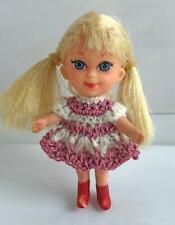 "Clothes for Skinny 3 1/2"" Mattel Kiddles Doll Mauve Dress OOAK Lot MK-13 USA"