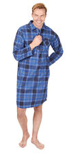 Mens Cargo Bay Check or Stripe Print 100 Cotton Thermal Flannel Nightshirt L Blue Check