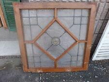 """c1900 quartersawn oak window frame Glass Bottle bubble Privacy glass sash 33x33"""""""