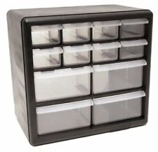 Homak 12-Drawer Plastic Parts Bin Organizer Storage Desk Drawers Black New