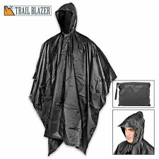 MILITARY GRADE Waterproof Jacket Clear Raincoat Rain Coat Hooded Poncho Rainwear