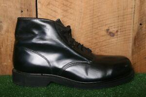 Vintage LEHIGH Black Leather EH Safety Toe Ankle Boots Men's Sz. 9E