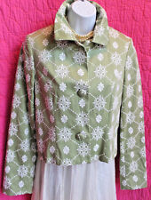 INC INTERNATIONAL CONCEPTS Green White Floral Embroidery Crop Jacket Sz S Lined