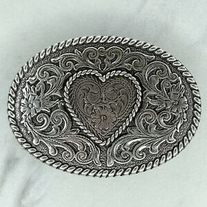 Silver Tone Heart Scroll Floral Engraved Oval Belt Buckle