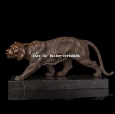 West Art Deco Sculpture King Of Jungle Tiger Abtract Bronze Copper Marble Statue