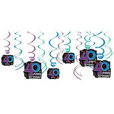 OVER THE HILL 40th BIRTHDAY HANGING SWIRL DECORATIONS (12) ~ Party Supplies Blue