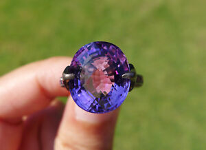 New Intense Purple Amethyst and Ruby Silver Ring