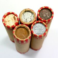 5 Wheat Cent Rolls w 1916 Merc Dime & 1909, Steel & Bu Wheat & Indian Cents ws5a
