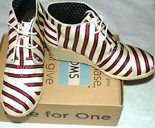 TOMS Women's Desert Laced Wedge T's Red Cream Stripes Size 11