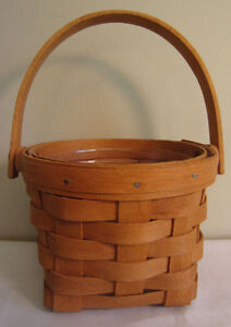 "Longaberger 1995 Small Round Easter Basket with Handle, Plastic Liner 9"" Tall"