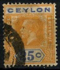 Ceylon 1921-32 SG # 351B, 25c GIALLO ARANCIONE & Blu KGV DIE II USATO #D 29310