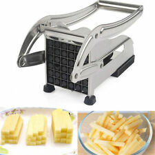 STAINLESS POTATO CHIPPER FRENCH FRIES SLICER CHIP CUTTER CHOPPER MAKER 2 BLADES