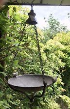 Large Antique Style Hanging Tray Bird Feeder Bath - Vintage Metal French Grey