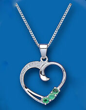 Emerald and Diamond Heart Pendant Sterling Silver Necklace