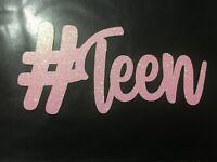 Custom Cake Topper Glitter #TEEN Pink Glitter Any Name Word Personalised