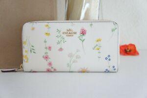 NWT COACH C0033 Accordion Zip Wallet W Spaced Wildflower Print Chalk Multi $250