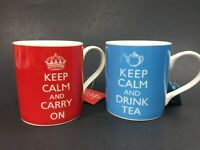 Keep Calm and Carry On and Drink Tea Classic Kent Pottery Original Mugs LOT of 2