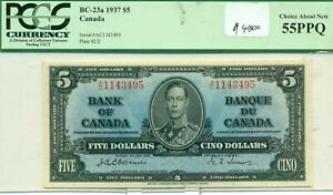 PCGS BC-23a 1937 $5 Choice About New 55PPQ Canada Serial #AC1143495 Plate #2/2