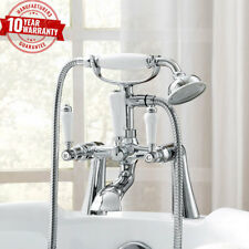Traditional Deck Mounted White Lever Chrome Bath Shower Mixer Tap Straight Legs