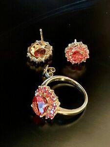 Andesine Labradorite 10k Yellow gold Ring Earrings set Sz.6 Estate 4.65 ctw