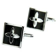 Men's Jewelry Shirt Cuff Link Cufflinks Gift Box Silver Tone Cross Enamel CW60