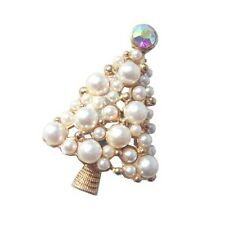 Amazing White Christmas Tree Shaped Brooch Pearls Cluster Shiny Pin Gift BR132