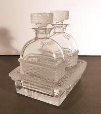 *VINTAGE* Lalique Crystal BANGKOK Basket Weave 3 Piece Oil & Viniger Cruet Set