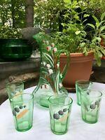 "Antique EAPG DUGAN Green Glass Lilly of the Valley 12"" TANKARD / LEMONADE SET"