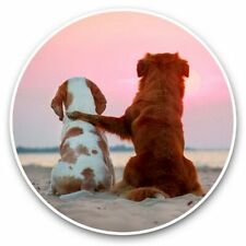 2 x Vinyl Stickers 30cm - Beagle & Retriever Dogs Sunset Beach  #44238