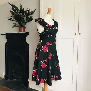 Zaful Black Green Red Rose Floral Print Stretch Cotton Fit and Flare Dress 12