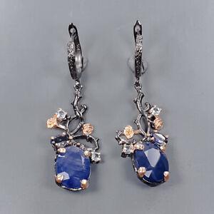 Handmade jewelry Set Blue Sapphire Earrings Silver 925 Sterling   /E55031