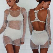 Sexy Party Clubwear Evening Women Mesh See-through Bodycon NightClub Dress BW