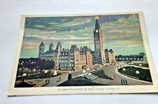 House of Parliament at Night, Ottawa Ontario Canada Postcard Circa 1930