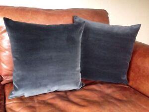 2 Harlequin Onyx Grey Velvet Cushion Covers 100% Cotton Dark 18 Dark Charcoal