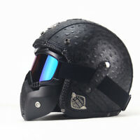 DOT Open Face 3/4 Motorcycle Helmet Cruiser Street Bike Scooter Leather Helmet