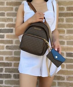 Michael Kors Erin Convertible Backpack + Brown MK Signature Blue Card Holder
