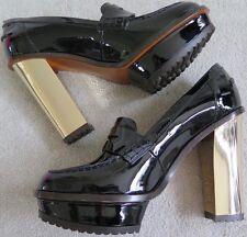 RRP £ 795-Mulberry Patente Negro Alta Plataforma Zapato Mocasín grueso talón - 41/UK7