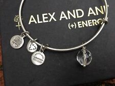 RARE ALEX and ANI Crystal OONA Drop Charm BEADED Bangle SILVER Bracelet💎
